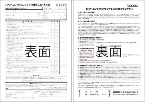 インフルエンザHAワクチン接種申込書・予診票